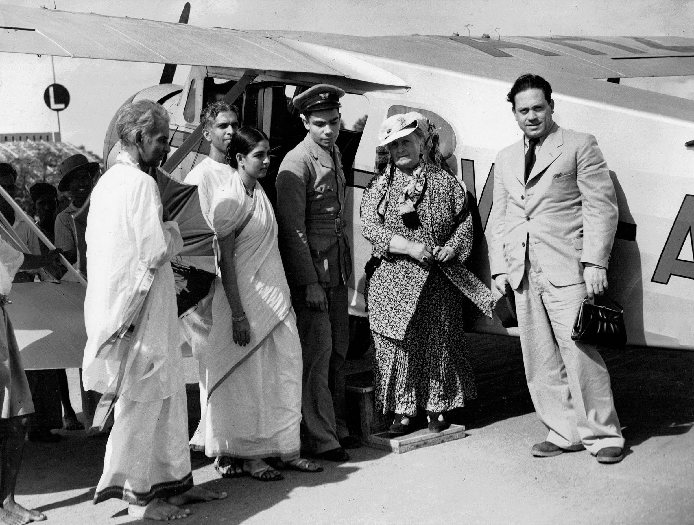 Maria Montessori and Mario Montessori arriving at Adyar, India